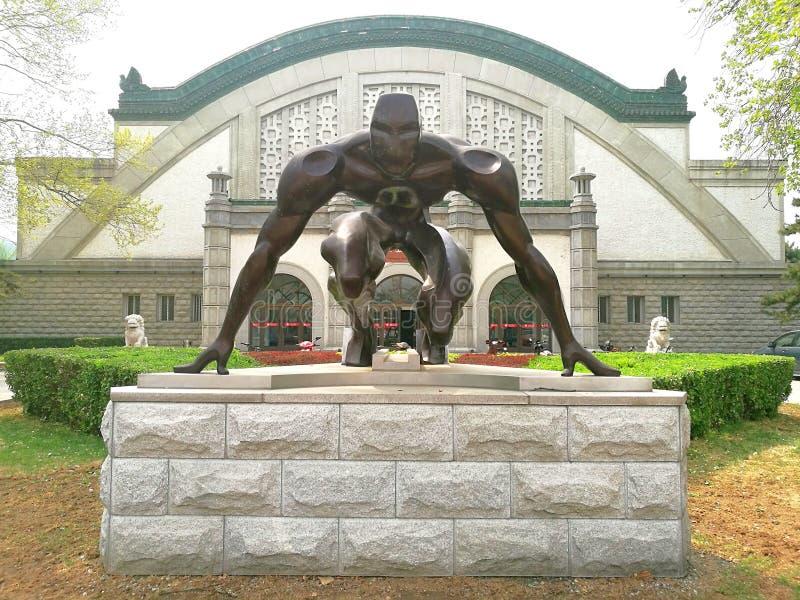 Atleta Starting Line Statue del corredor foto de archivo libre de regalías