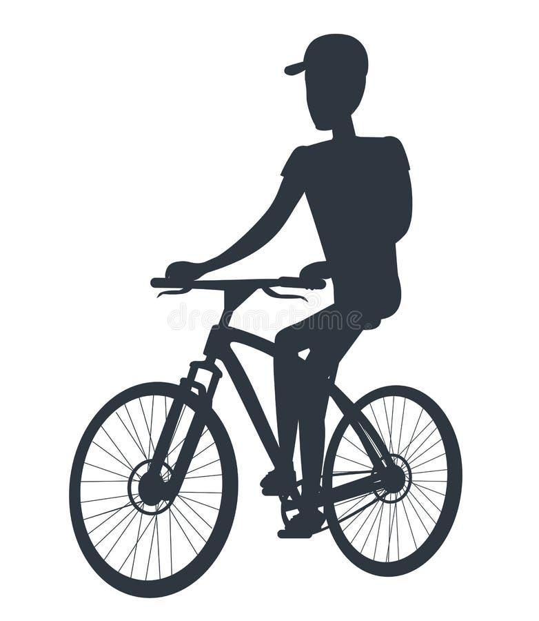 Atleta su bianco isolato siluetta del nero della bicicletta illustrazione vettoriale