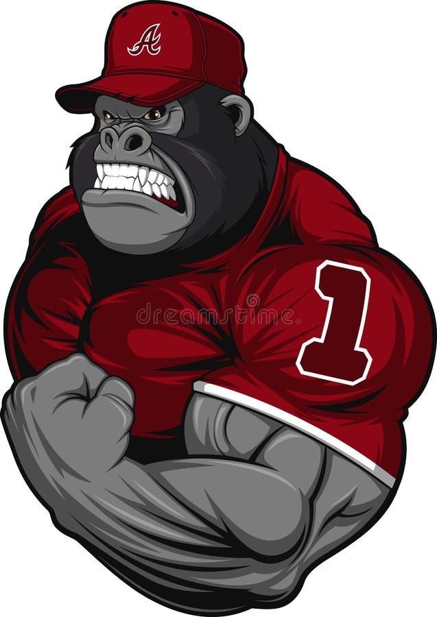 Atleta terrible del gorila stock de ilustración