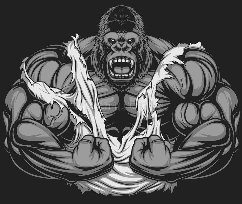Atleta terrible del gorila foto de archivo