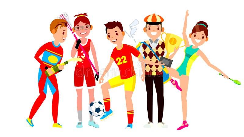 Atleta Ustalony wektor Mężczyzna, kobieta Lacrosse, piłka nożna, golf, gimnastyka Grupa sportów ludzie W mundurze, odzież royalty ilustracja