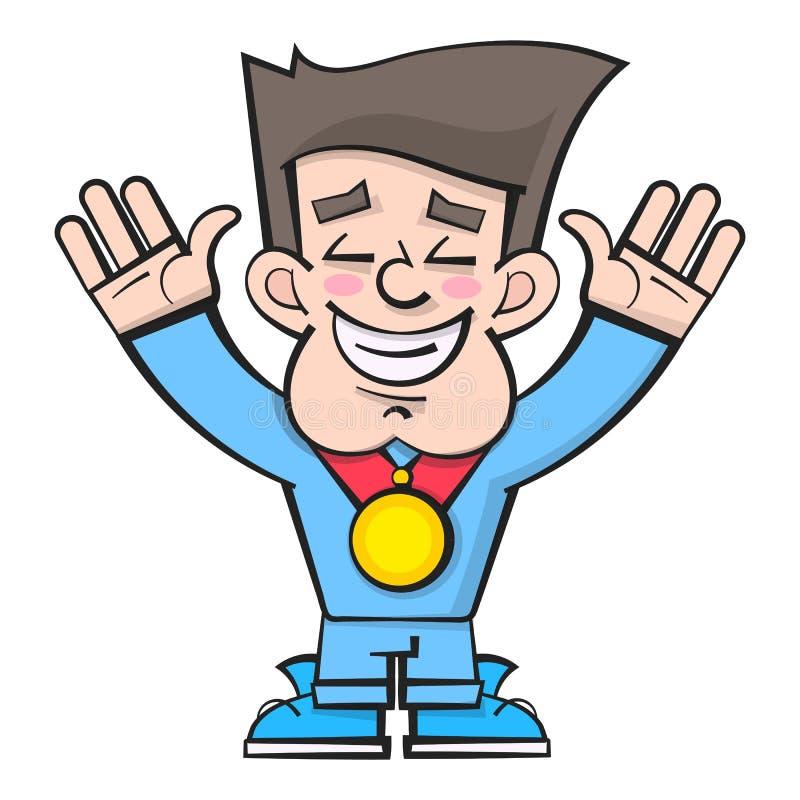 Atleta Winner Podium Sportivi di conquista del fumetto sul piedistallo con la medaglia Vettore illustrazione di stock