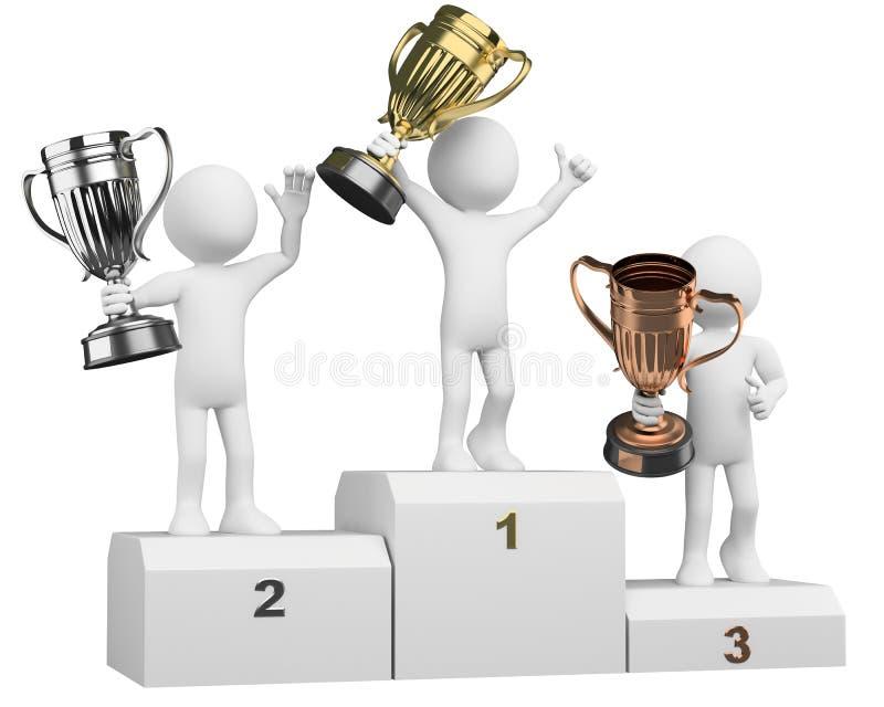 atletas 3D en el podium de ganadores ilustración del vector