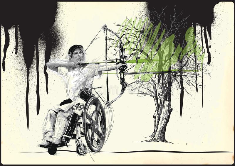Atletas con las incapacidades físicas - tiro al arco stock de ilustración