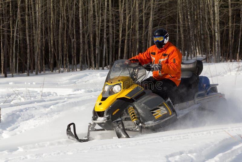 Atletas en una moto de nieve imagen de archivo libre de regalías
