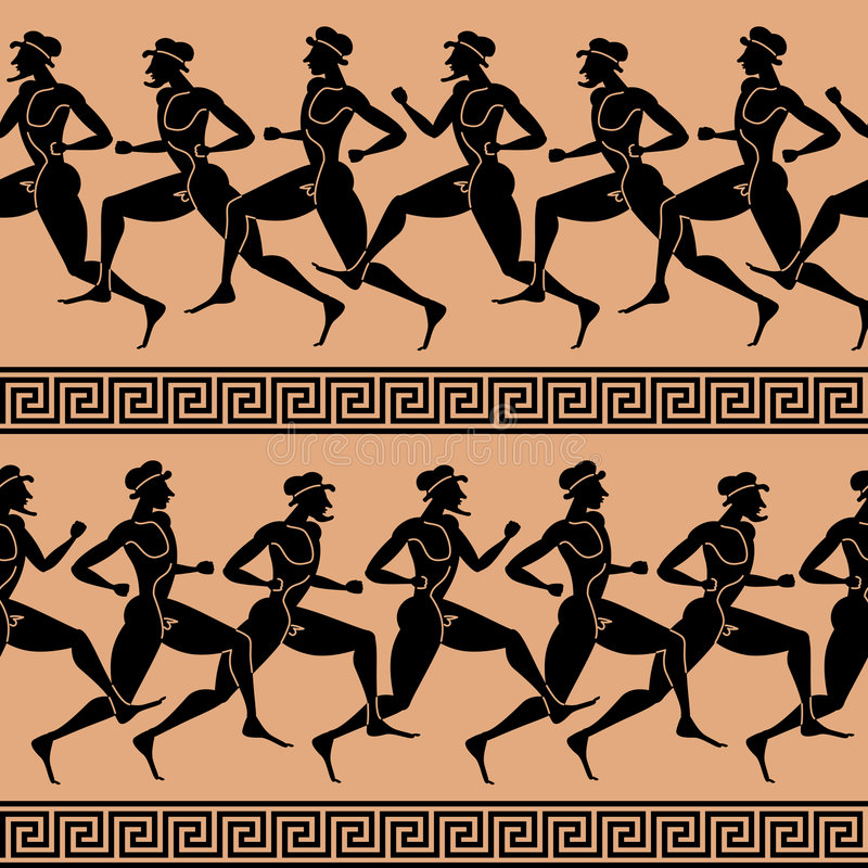 Atletas griegos (papel pintado inconsútil del vector) libre illustration