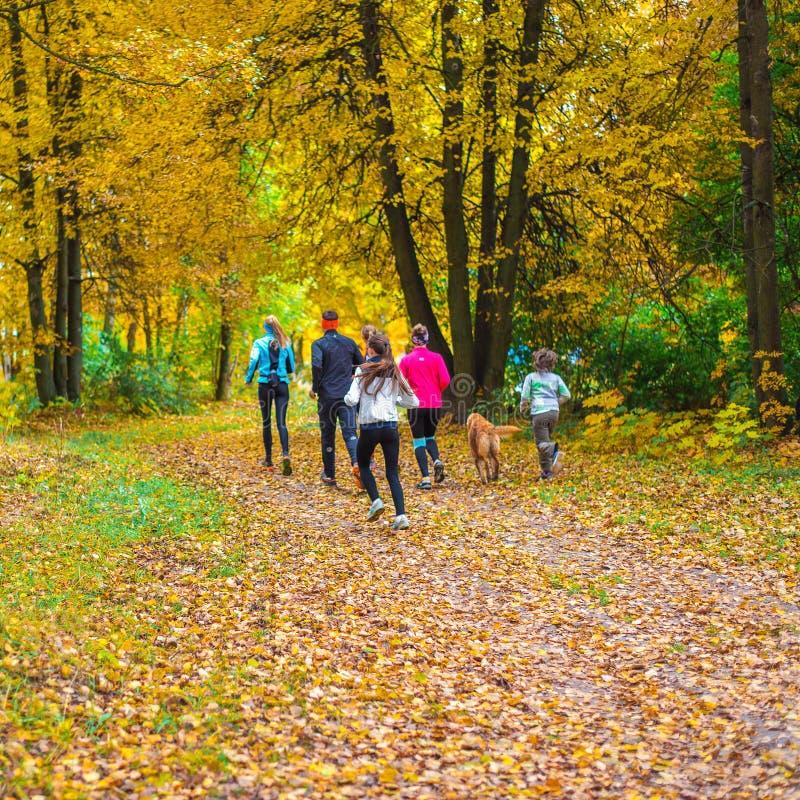 Atletas running no parque em uma corrida no amanhecer Diversas crianças estão correndo nas madeiras que fazem esportes foto de stock
