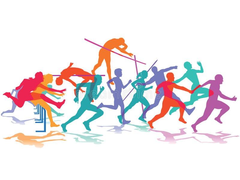 Atleten in actie stock illustratie