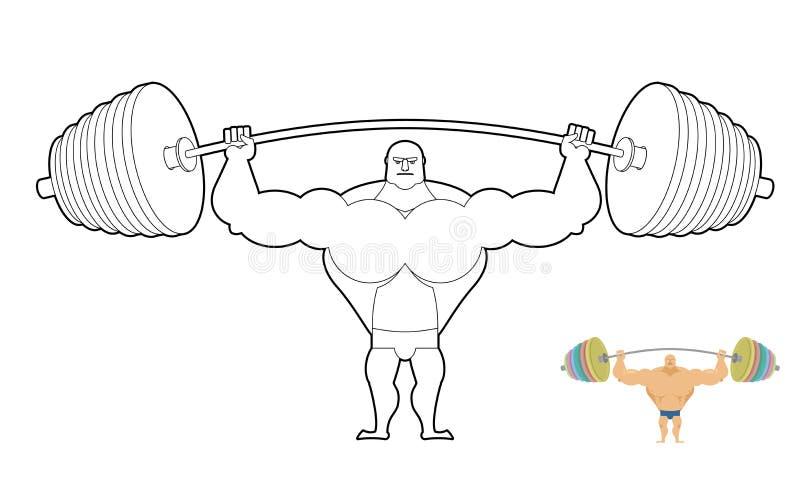 Atleten barbell kleurend boek Bodybuilderoogsten Sterke Mens royalty-vrije illustratie