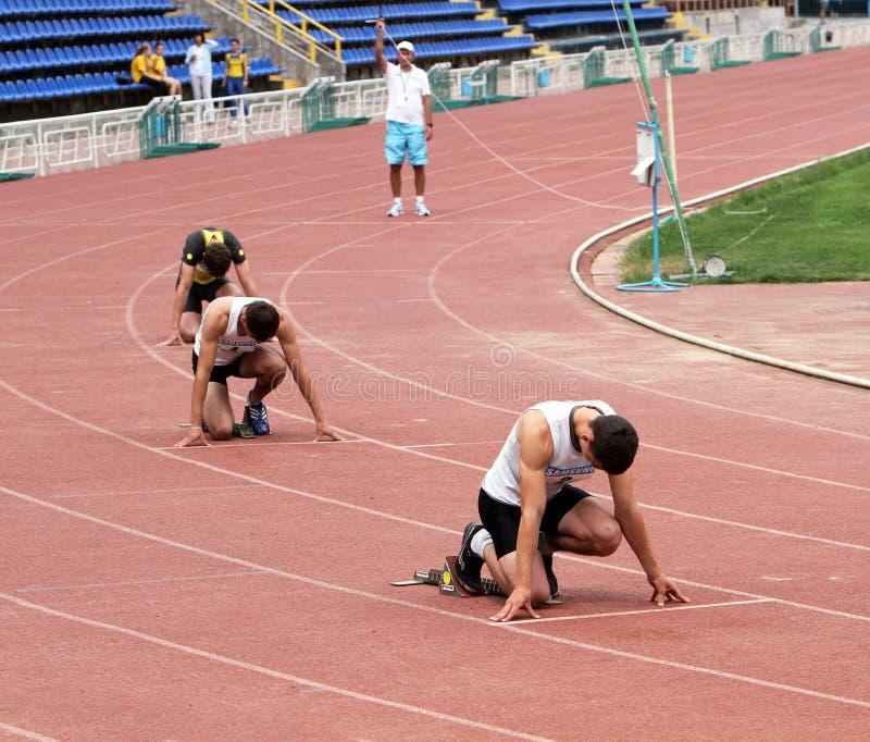 Atleten bij het begin royalty-vrije stock foto