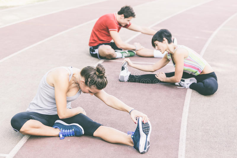 Atleten in openlucht stock fotografie