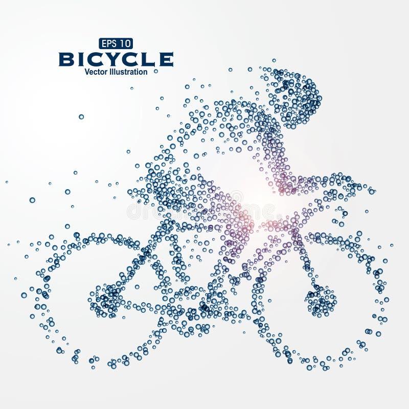 Atletenbeeld uit deeltjes, illustratie wordt samengesteld die vector illustratie