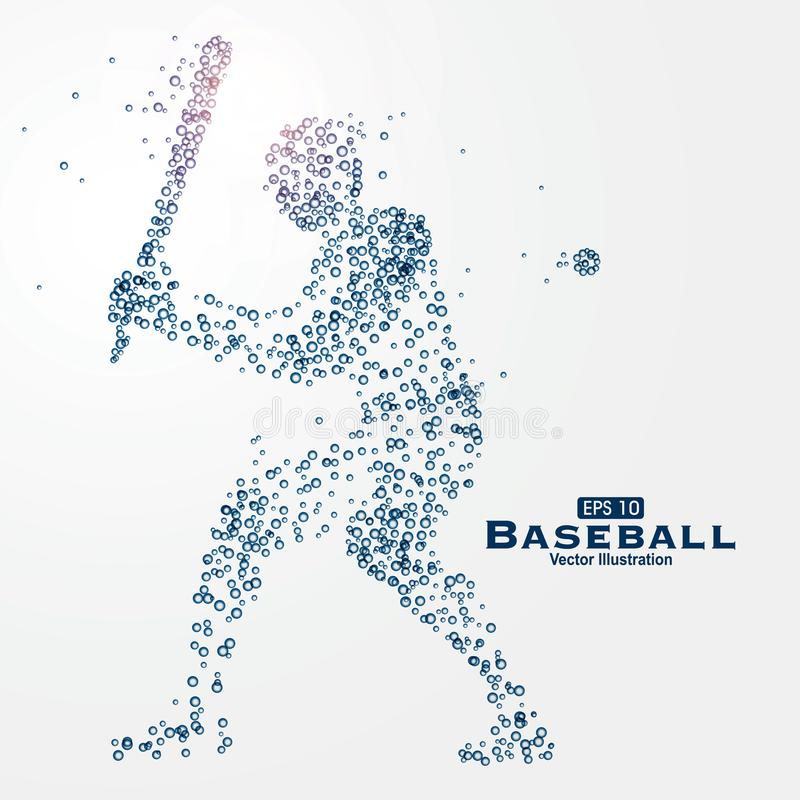 Atletenbeeld uit deeltjes, vectorillustratie wordt samengesteld die stock illustratie