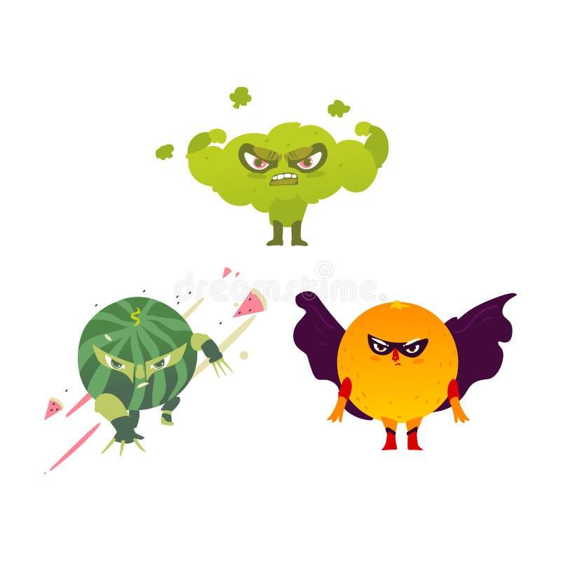 Atletenbroccoli, ninjawatermeloen, heldensinaasappel royalty-vrije illustratie