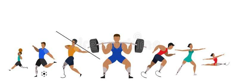 Atleti con le gambe prostetiche royalty illustrazione gratis