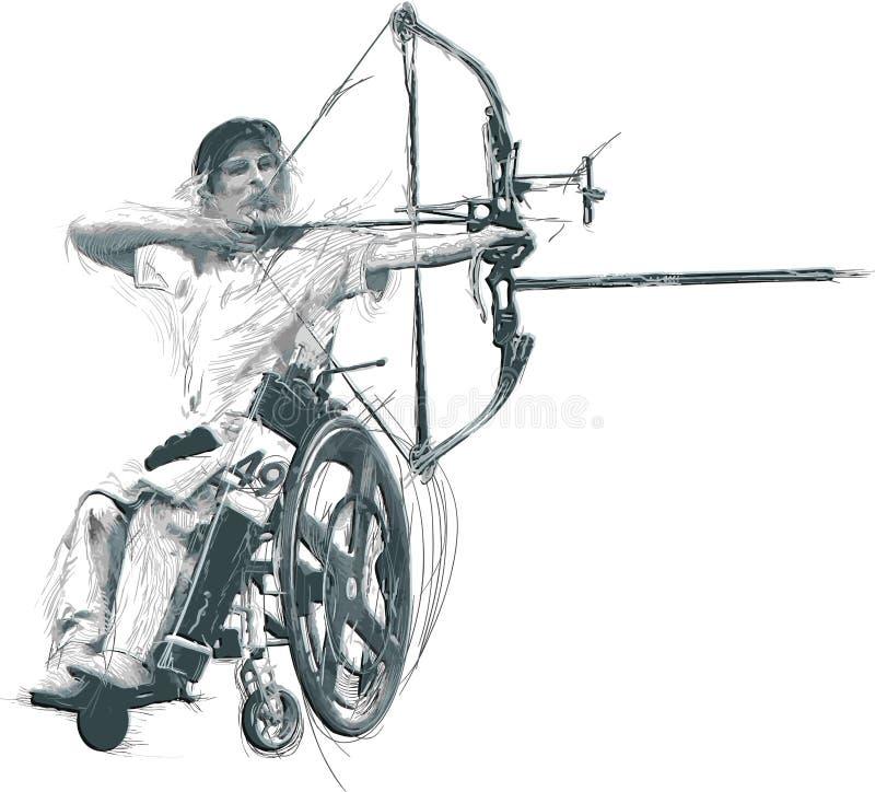 Atleti con le inabilità fisiche - tiro con l'arco illustrazione vettoriale