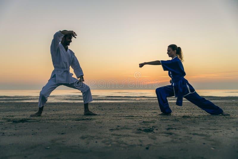 Atleti di arti marziali immagine stock