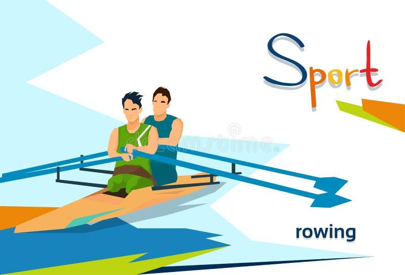 Atleti disabili che remano competizione sportiva illustrazione vettoriale