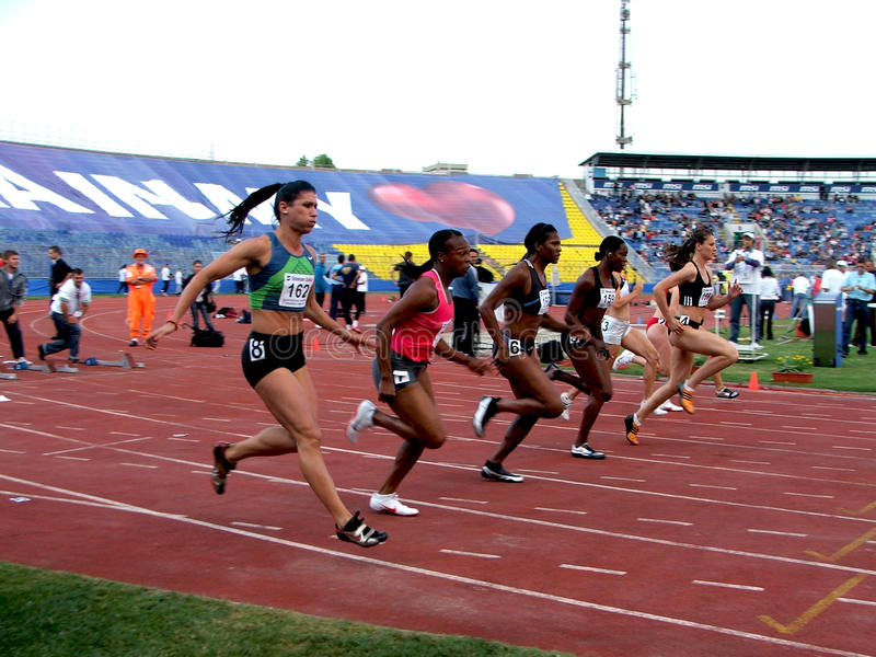 Atletic in belgrade. International atletes that will take part III belgrade international athletic miting Girl starting race stock photography