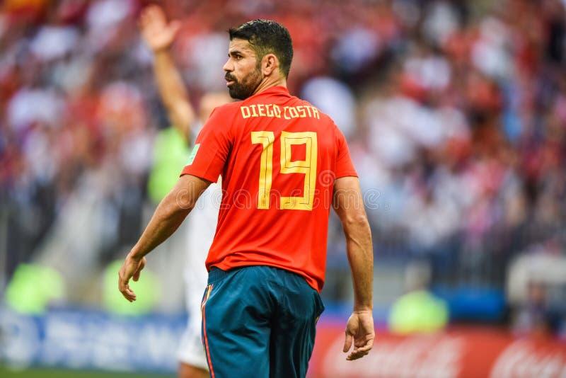 Atletico Madrid en van het de voetbalteam van Spanje de nationale striker Diego Costa stock afbeeldingen