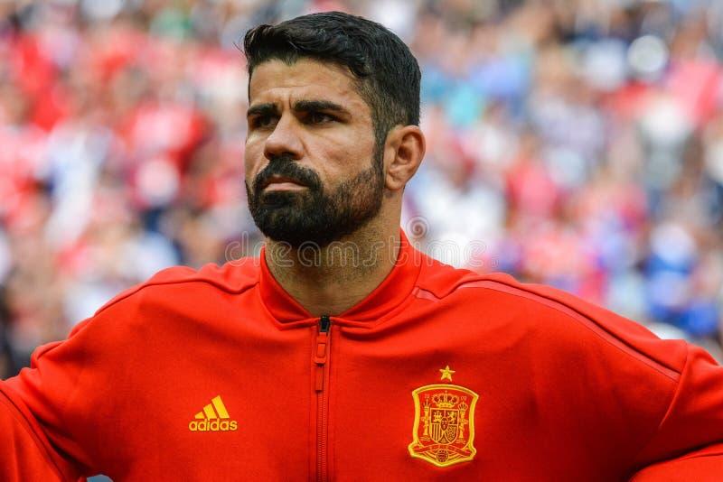 Atletico Madryt i Hiszpania drużyny futbolowej krajowy strajkowicz Diego Costa fotografia royalty free