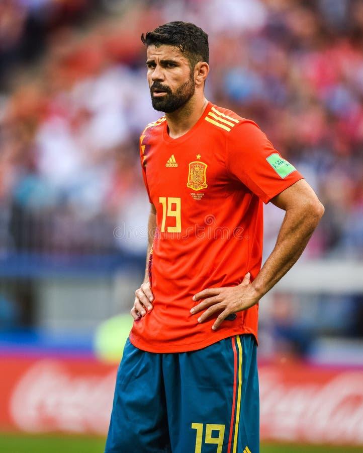 Atletico Madryt i Hiszpania drużyny futbolowej krajowy strajkowicz Diego Costa zdjęcia royalty free