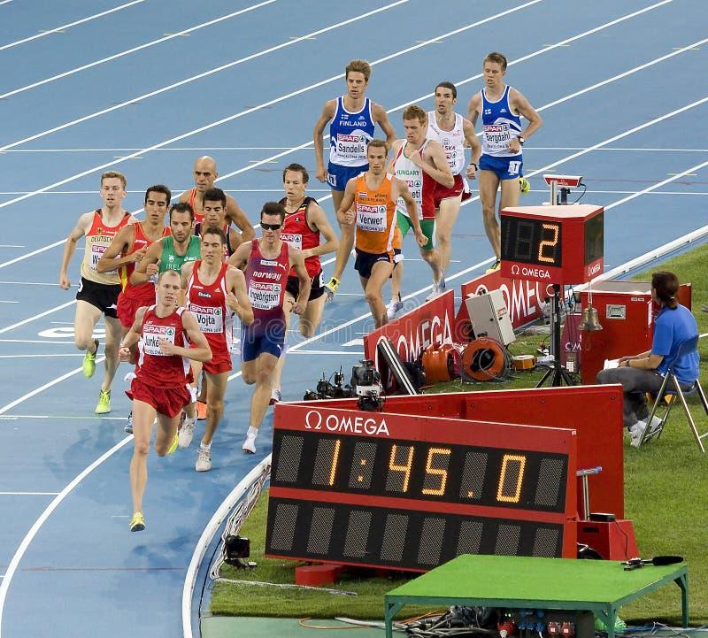 Atletiek 1500 meters royalty-vrije stock foto