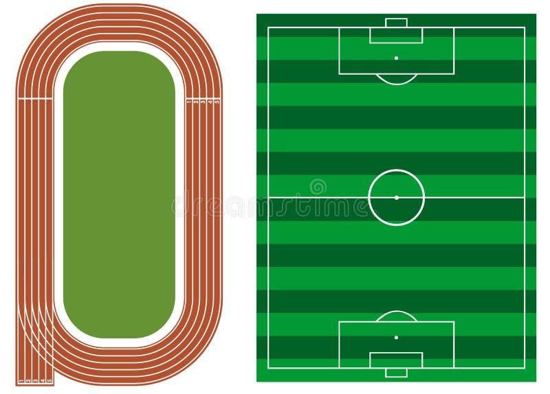 Atletiekspoor met voetbalgebied vector illustratie