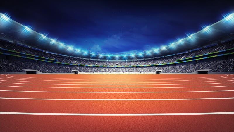 Atletiekstadion met spoor bij de mening van de panoramanacht stock foto
