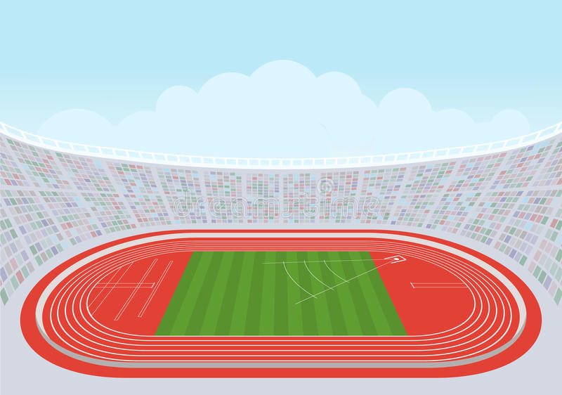 Atletiekstadion voor competities vector illustratie