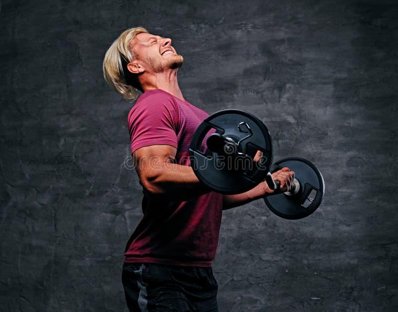 Atletisch blond mannetje die een bicepsentraining met een barbell doen royalty-vrije stock foto
