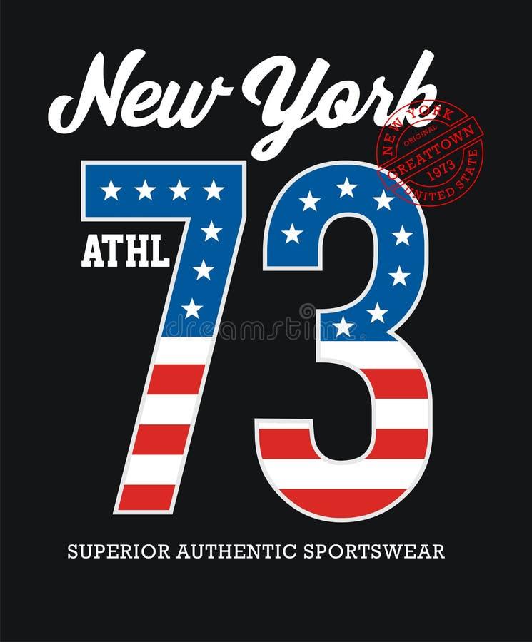 Atletisch de Typografieontwerp van New York stock illustratie