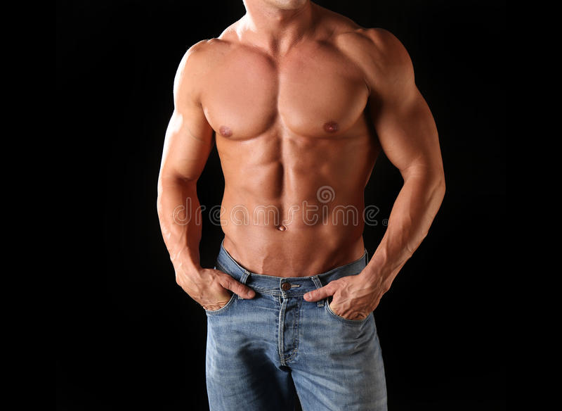 Atletisch mannelijk lichaam stock foto's
