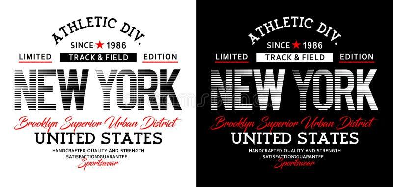 Atletisch New York, t-shirtdruk, vectorillustratie vector illustratie
