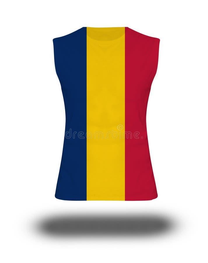 Atletisch sleeveless overhemd met de vlag van Tsjaad op witte achtergrond en schaduw stock afbeelding