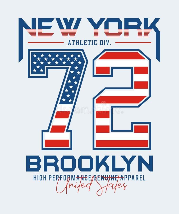 Atletische afdeling New York 72 typografie, vectorillustraties royalty-vrije illustratie