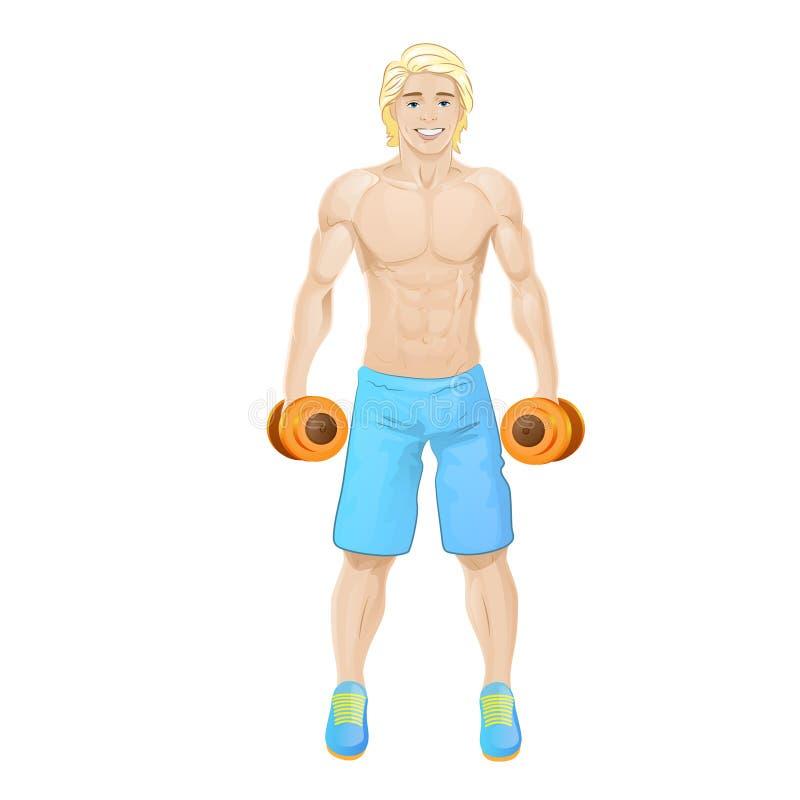 Atletische de bodybuilder van de greepdomoren van de sportmens royalty-vrije illustratie
