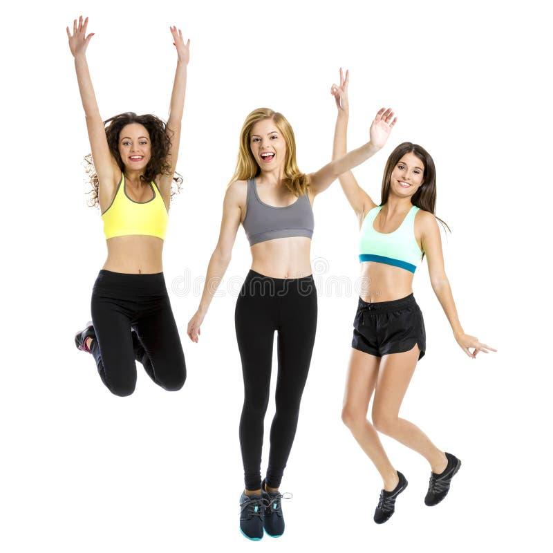 Atletische meisjes stock afbeeldingen