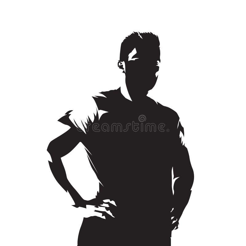 Atletische mens die zich met handen op heupen bevinden vector illustratie