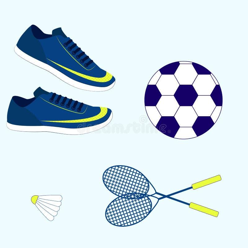 Atletische schoenen en toebehoren vector illustratie