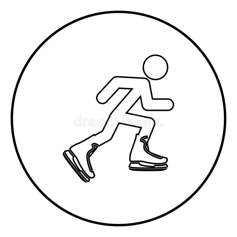 Atlety łyżwiarka w łyżwiarskiego ikony czerni koloru wektorowym ilustracyjnym prostym wizerunku ilustracja wektor