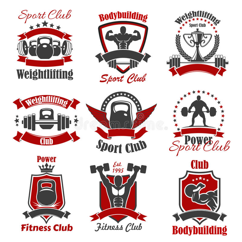 Atlety bodybuilder i ciężaru sporta ikona royalty ilustracja