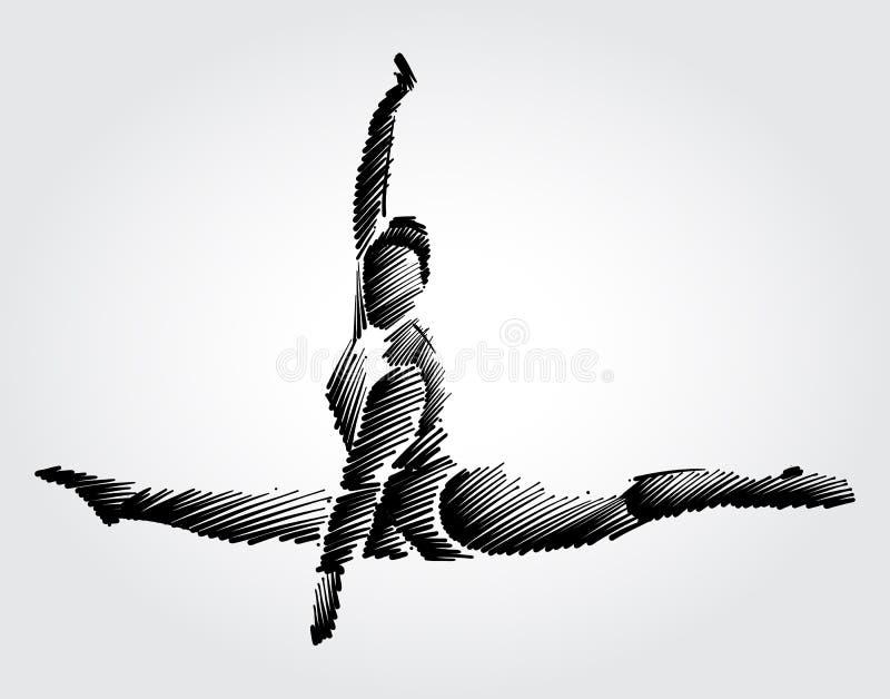 Atlety gimnastyczki żeński doskakiwanie i robić ruch w powietrzu zdjęcie stock