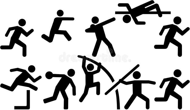 Atletyki ikony ustalony dziesięciobój ilustracji
