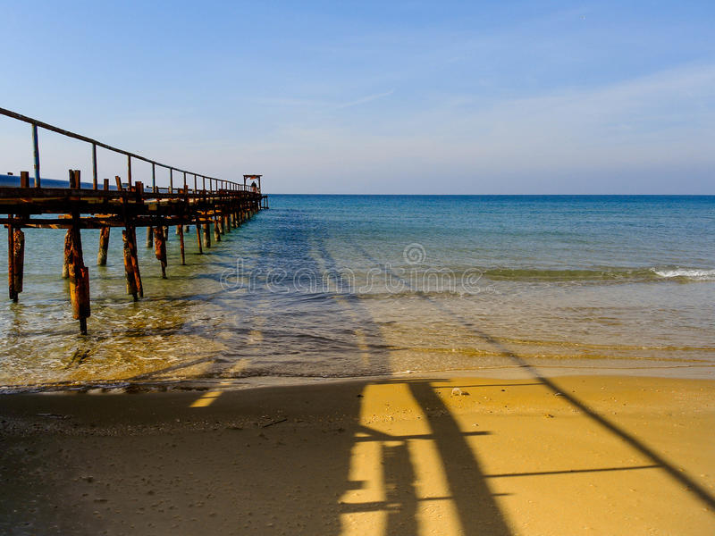 Atlit Coast Morning view with old deck, North District of Israel. By the Mediterranean Sea stock photo