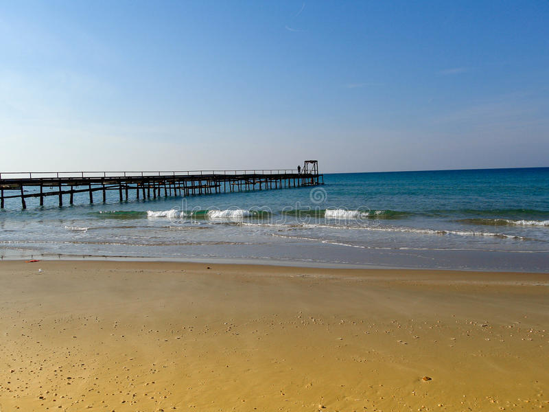 Atlit Coast Morning view with old deck, North District of Israel. By the Mediterranean Sea stock photography
