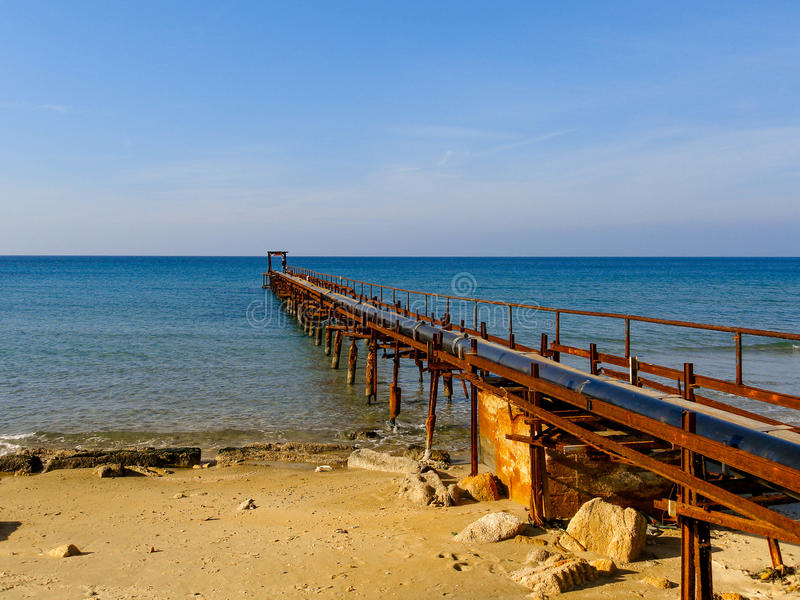 Atlit Coast Morning view with old deck, North District of Israel. By the Mediterranean Sea royalty free stock photos