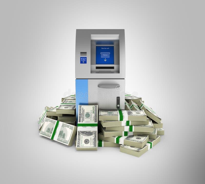ATM由100美元财务资助在灰色梯度围拢了开户在金钱的现钞机被隔绝的美国美金 库存例证