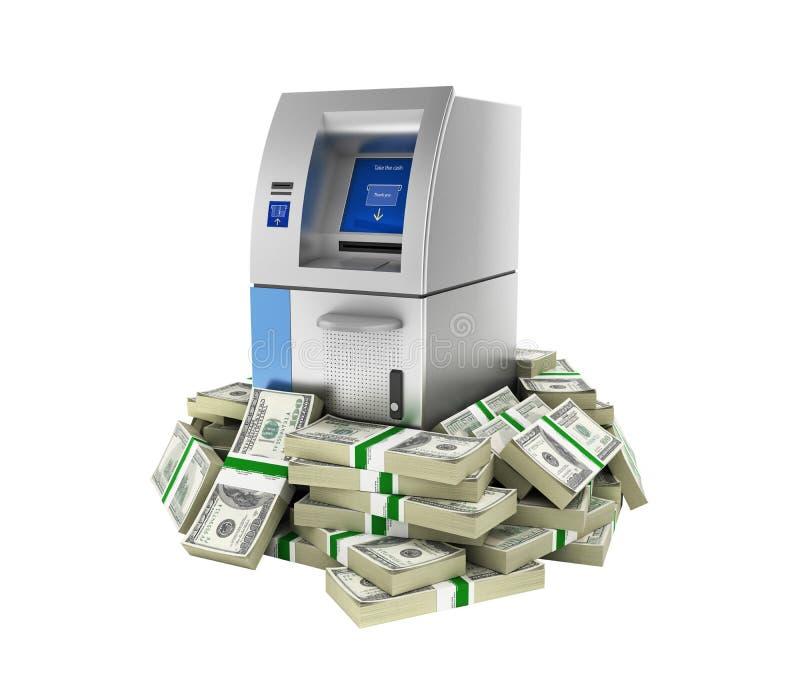 ATM由100美元财务资助银行在金钱的现钞机围拢了美国美金,不用在白色隔绝的阴影 皇族释放例证
