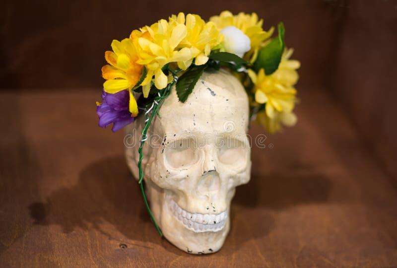 Atmósfera artística: el florero con agua coloreada, humor creativo, cráneo en flores enrruella fotografía de archivo